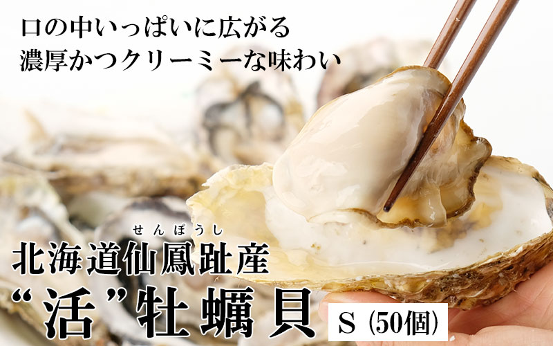 北海道仙鳳趾産「活」牡蠣Sサイズ×50個入