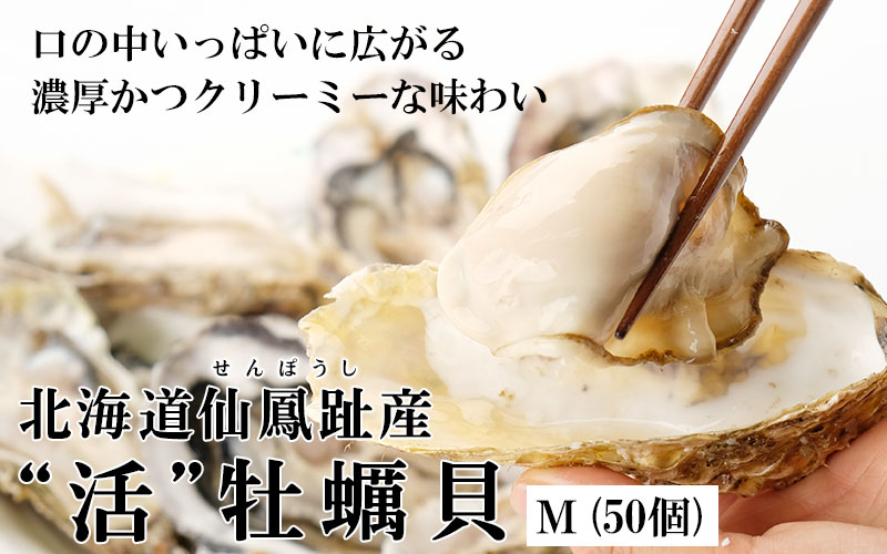 北海道仙鳳趾産「活」牡蠣Mサイズ×50個入