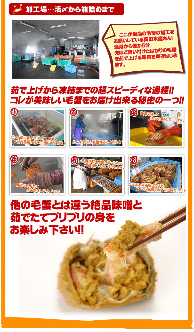 北海道虎杖浜産毛ガニ400g~450g前後×2尾セット