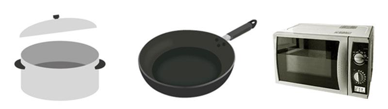 鍋とフライパンと電子レンジ