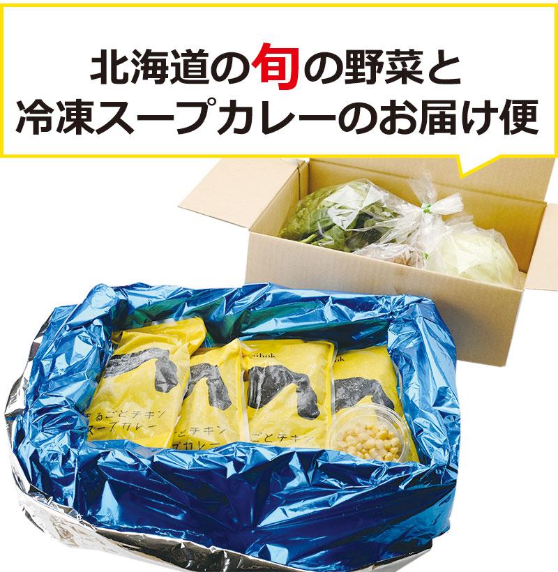北海道の旬の野菜と冷凍スープカレーのお届け便