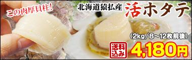 "北海道猿払産""活ホタテ""2kg箱"