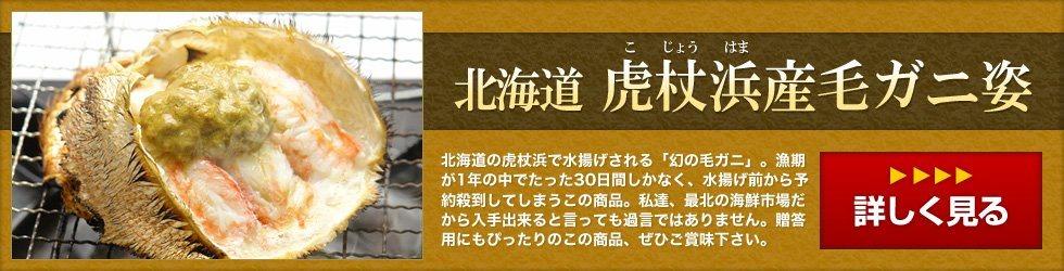 北海道虎杖浜産毛蟹~北海道の虎杖浜で水揚げされる「幻の毛ガニ」。漁期が1年の中でたった30日間しかなく、水揚げ前から予約殺到してしまうこの商品。