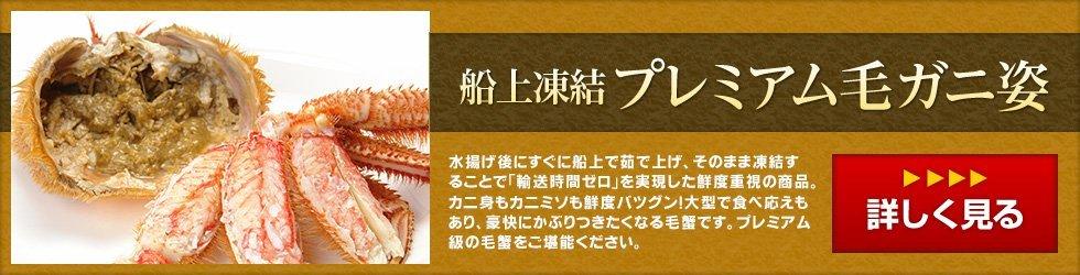 北海道紋別産毛ガニ~皆で楽しめる特大サイズ身も味噌も旨みがあふれています。